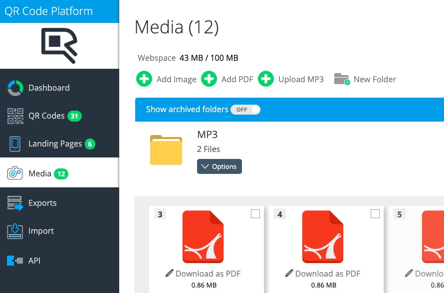 Mp3,Photos and PDF documents verlinked mit QR Code in media library
